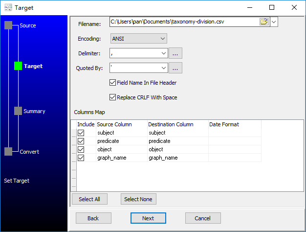 convert RDF N-Quads file to Csv file - config Csv file