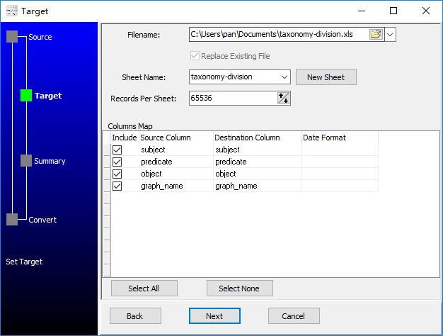 convert RDF N-Quads file to Excel file - config Excel file