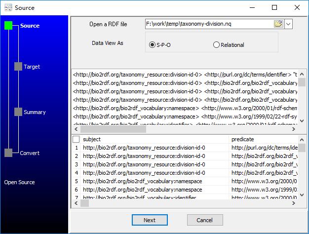 convert RDF N-Quads file to Csv file - open RDF N-Quads file