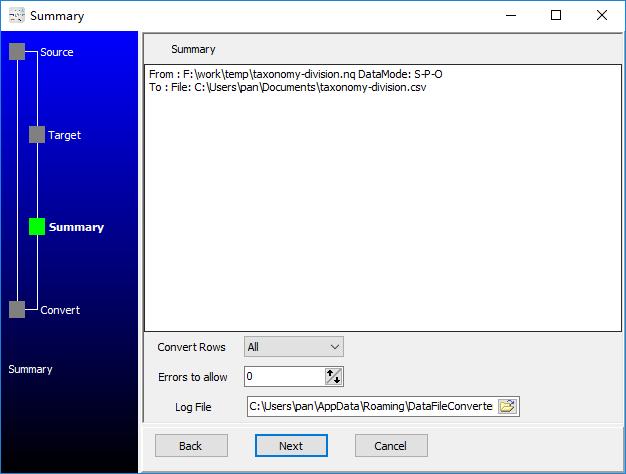 convert RDF N-Quads file to Csv file - summary