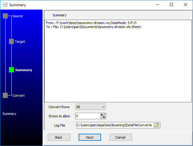convert RDF N-Quads file to Excel file - summary