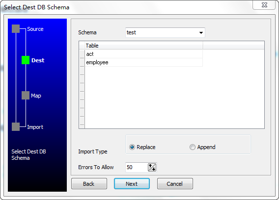 Bulk/Batch import data from MySQL to DB2 - select destination schema