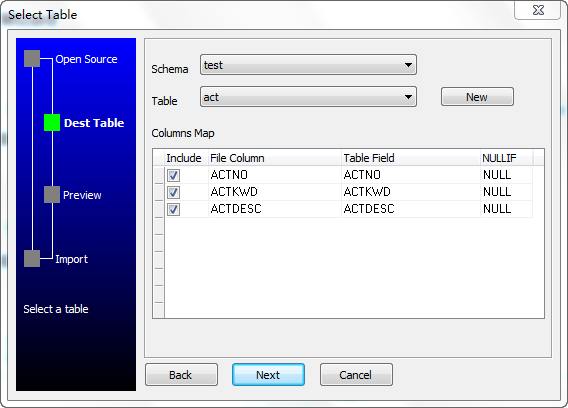Access to DB2 wizard - select table