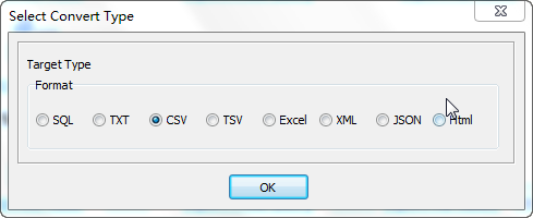 Export data from Azure SQL database Tables To Csv Files - select Csv file type