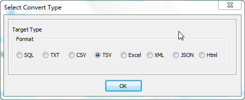 Export Query Results from Azure SQL database Table To Tsv File - select Tsv file type