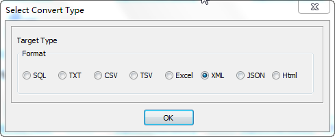 Export data from Azure SQL database Tables To Xml Files - select Xml file type