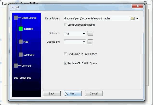 Extract data from Azure SQL database Tables To Tsv Files - enter data folder