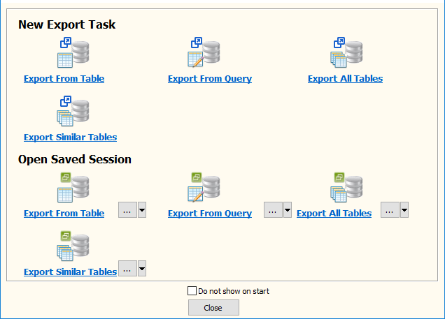 Export data from Azure SQL database Tables To Xml Files - task window