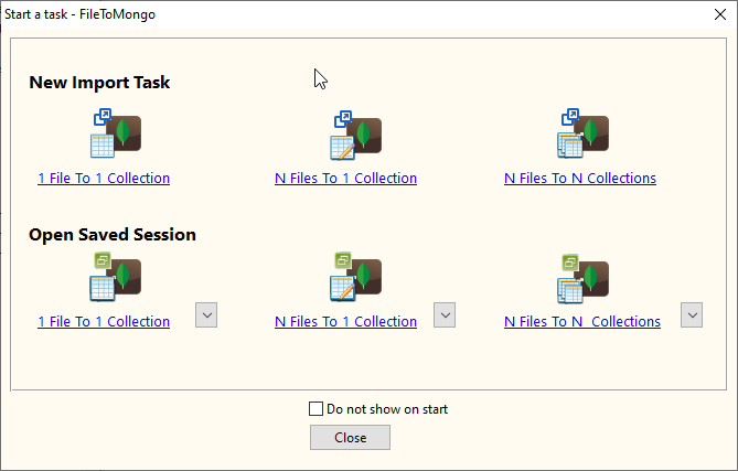 Import XML data from online RSS feeds To MongoDB collection - task window