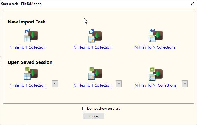 Import XML data from RDF file To MongoDB - task window