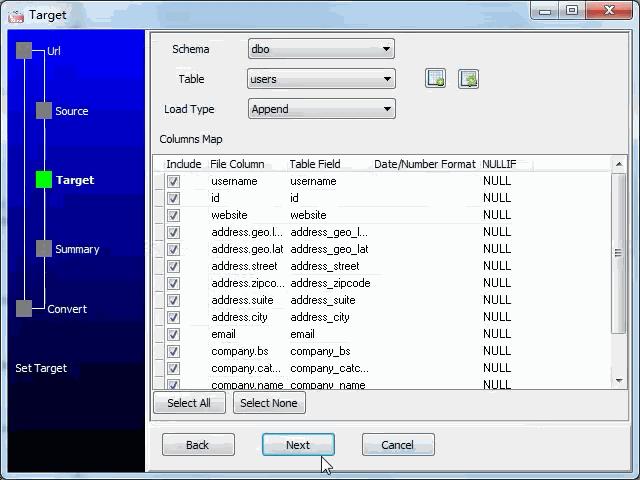 import online RSS feeds to SQL Server - config SQL Server fields