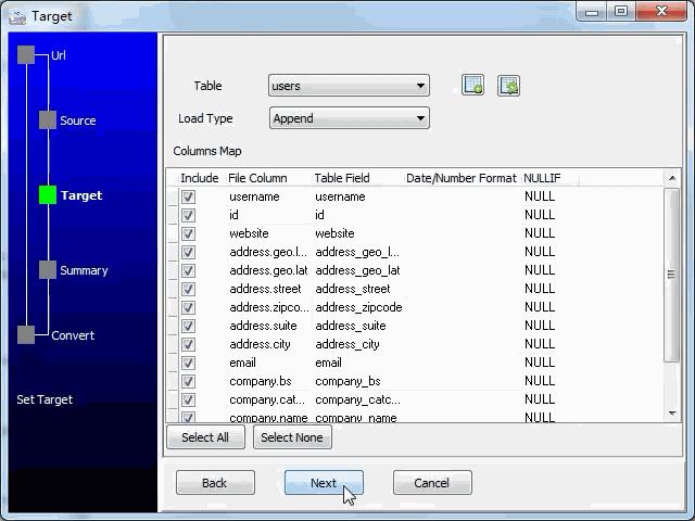 import online RSS feeds to SQLite - config SQLite fields