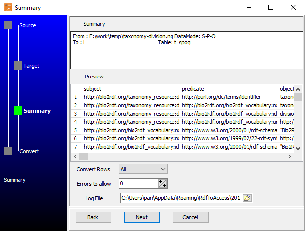 Transfer RDF N-Quads file (.nq) to Access  - summary
