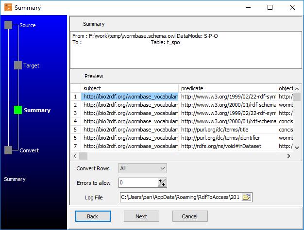 Transfer XML format RDF file (.rdf, .owl) to PostgreSQL  - summary