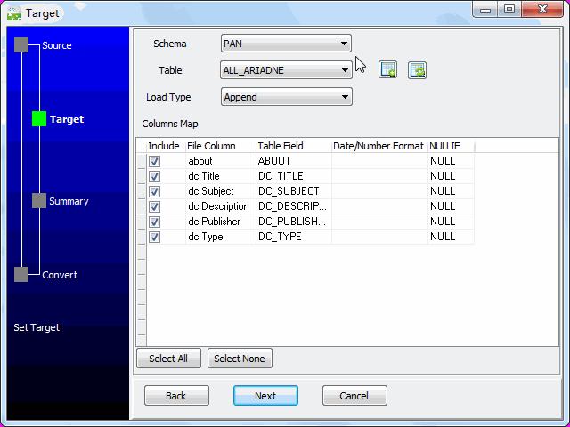 Load RDF file to DB2 - config DB2 fields