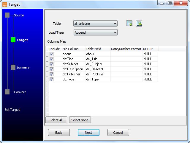 Load RDF file to Dbf (dBase, FoxBase, FoxPro) - config Dbf (dBase, FoxBase, FoxPro) fields