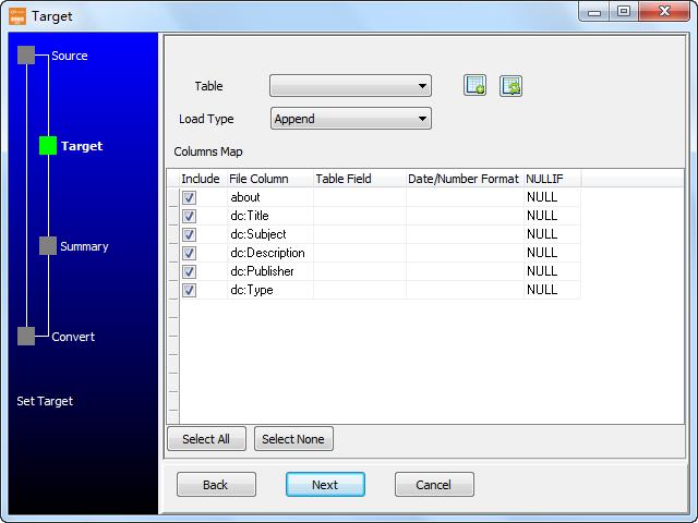 Save RDF file to Dbf (dBase, FoxBase, FoxPro) - config Dbf (dBase, FoxBase, FoxPro) table