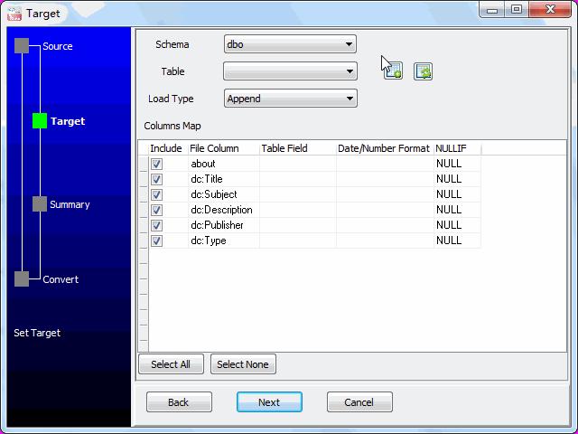 Save RDF file to SQL Server - config SQL Server table