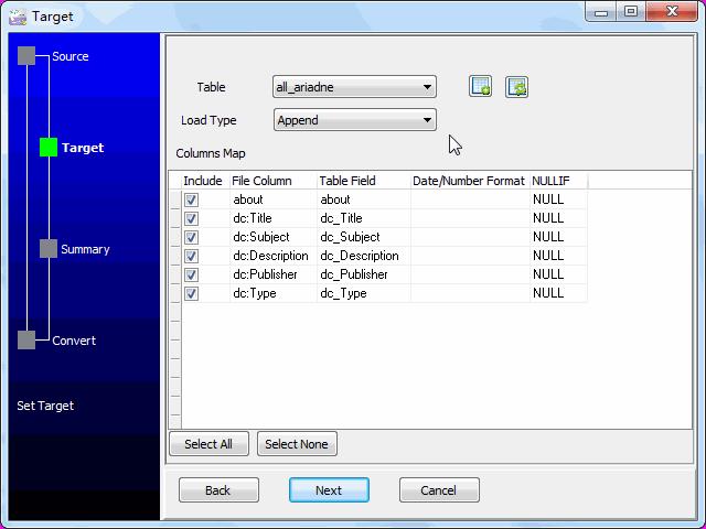 Load RDF file to SQLite - config SQLite fields