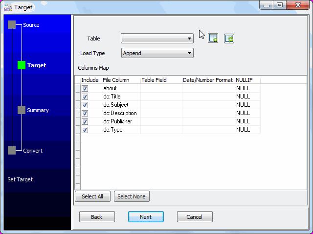 Save RDF file to SQLite - config SQLite table