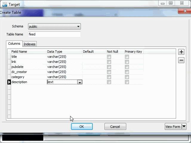 import online RSS feeds to PostgreSQL - create PostgreSQL table