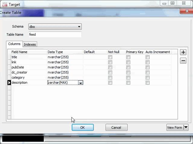 import online RSS feeds to SQL Server - create SQL Server table