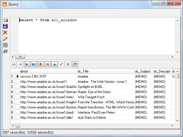Store RDF file to Dbf (dBase, FoxBase, FoxPro) - view  Dbf (dBase, FoxBase, FoxPro) table