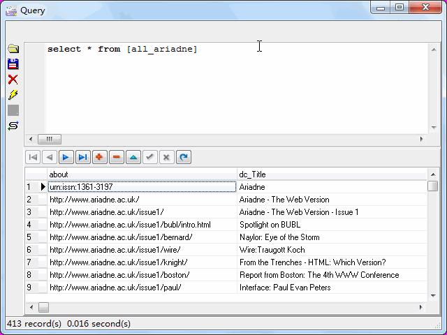 Store RDF file to SQLite - view  SQLite table