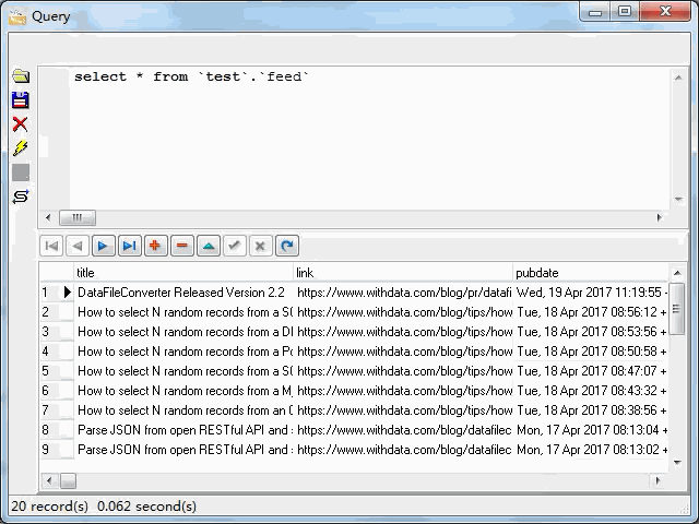 import online RSS feeds to MySQL - view  MySQL table