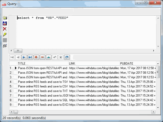import online RSS feeds to Oracle - view  Oracle table