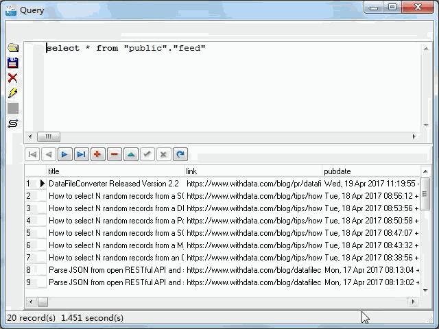 import online RSS feeds to PostgreSQL - view  PostgreSQL table
