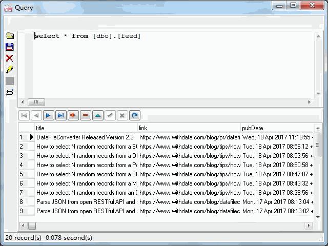 import online RSS feeds to SQL Server - view  SQL Server table