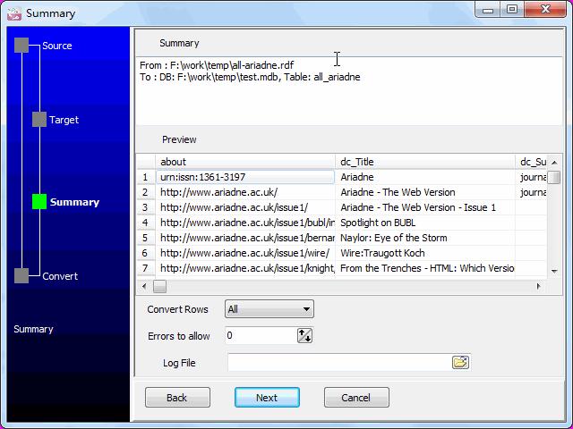 Transfer RDF file to Access - summary