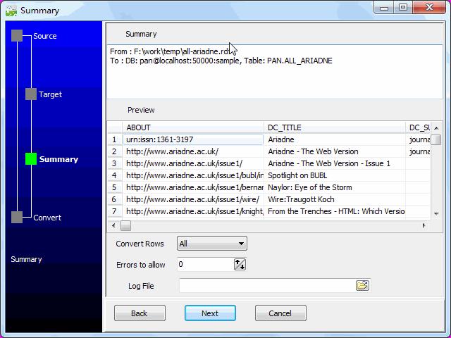 Transfer RDF file to DB2 - summary