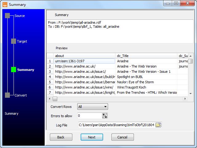 Transfer RDF file to Dbf (dBase, FoxBase, FoxPro) - summary
