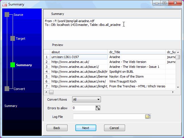 Transfer RDF file to SQL Server - summary