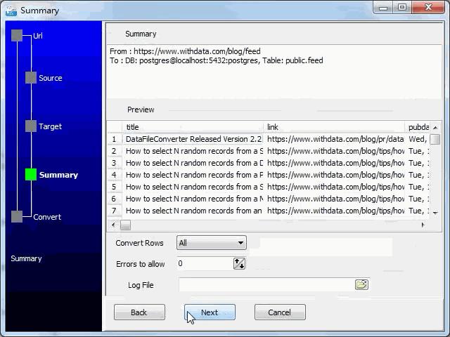 import online RSS feeds to PostgreSQL - summary